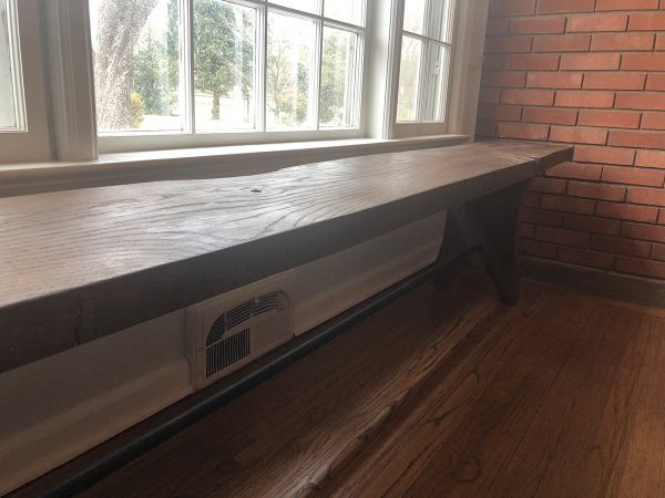 Slab Bench with Metal Rod