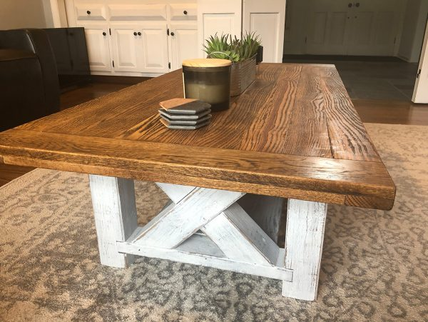 Rustic Oak Coffee Table with Pine Base - Distressed